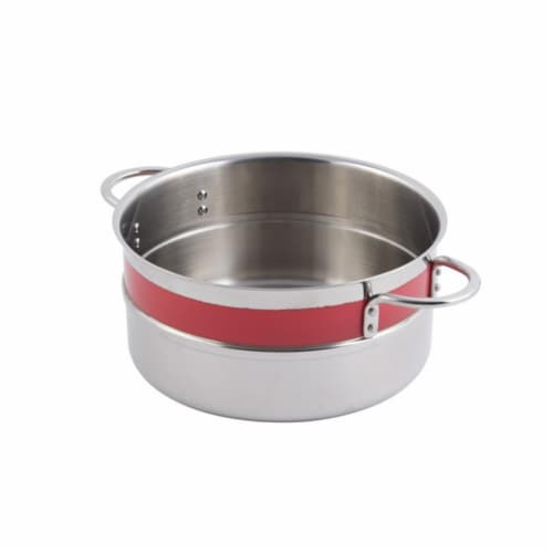 Bon Chef 62303NCRED 10.12 x 4.62 in. Classic Country 0.5 Color Singlewall 5.7 quart Pot No Co Perspective: front
