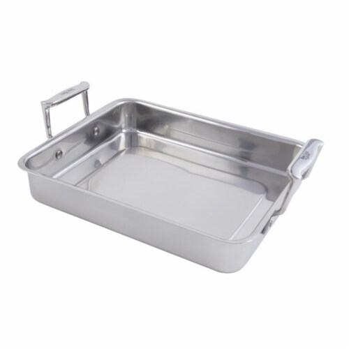 Bon Chef 60013 11.75 x 9.37 x 2.12 in. Cucina Stainless Steel Small Food Pan with Handles, 3 Perspective: front