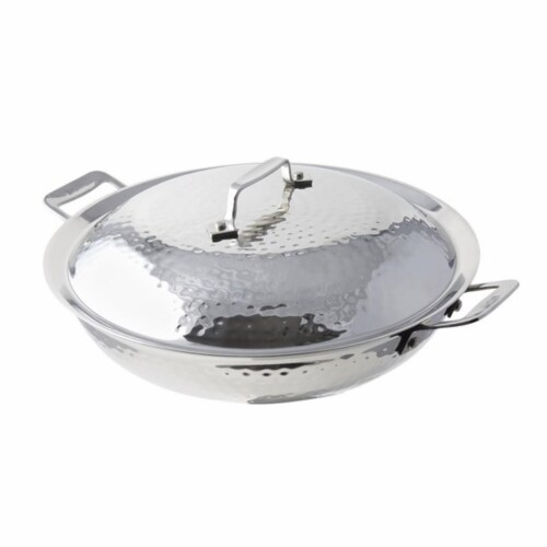 Bon Chef 60015HF 12 in. dia. Cucina Chef Pan with Lid Hammer & 2 Handles, 3.5 quart Perspective: front