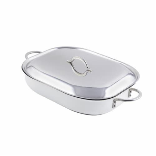 Bon Chef 60023CFCLDWhite 15 x 11 x 2.87 in. Classic Country French Oblong Pan with Lid, White Perspective: front