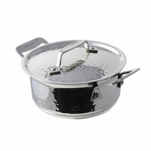 Bon Chef 6.87 in. Cucina Pan with Lid Hammered, 40 oz Perspective: front