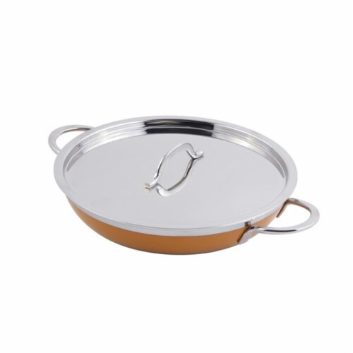 Bon Chef 60304ORANGE 10.12 x 1.87 in. Classic Country French Collection Saute 1 quart Pan & S Perspective: front