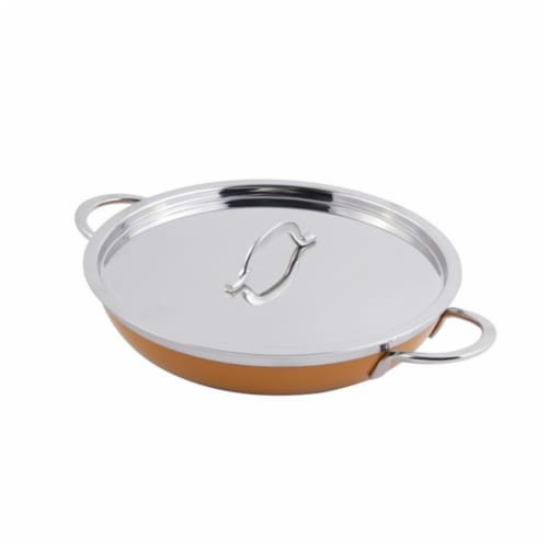 Bon Chef 60304YELLOW 10.12 x 1.87 in. Classic Country French Collection Saute 1 quart Pan & S Perspective: front