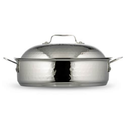 Bon Chef 60001HF 11.18 in. dia. Cucina Saute Use Hammered with Lid, 4 quart Perspective: front