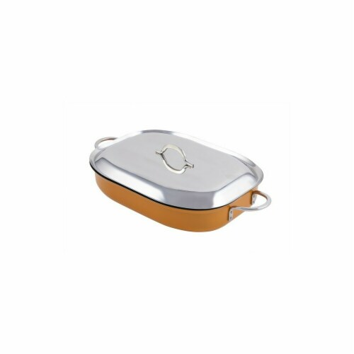 Bon Chef 60023CFCLDOrange 15 x 11 x 2.87 in. Classic Country French Oblong Pan with Lid, Oran Perspective: front