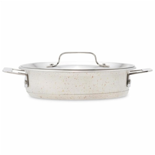 Bon Chef 60022DESERT 1 qt 24 oz Hotstone Desert Cucina Round Casserole with Lid - Induction B Perspective: front
