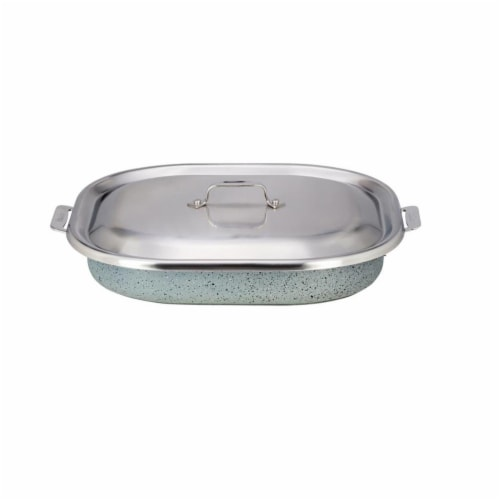 Bon Chef 60023CLDSTARLIGHT 5 qt Hotstone Starlight Cucina Oblong Pan with Lid - Induction Bot Perspective: front