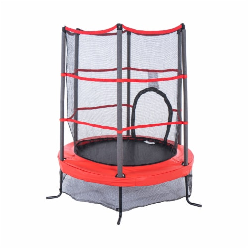 Propel Trampolines 55 Inch Preschool Trampoline with Zippered Entrance, Red Perspective: front