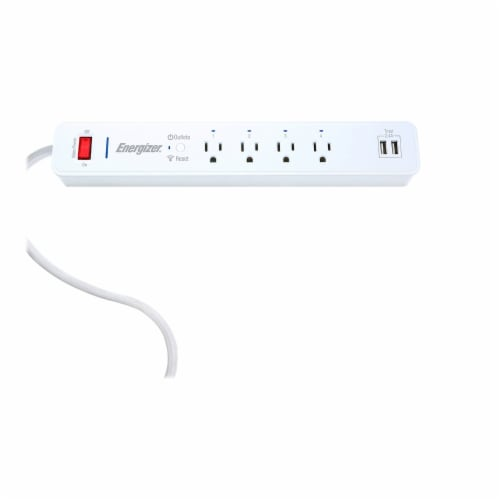 Energizer Connect EIS3-1001-WHT Smart Wi-Fi Surge Protector Power Strip Perspective: front