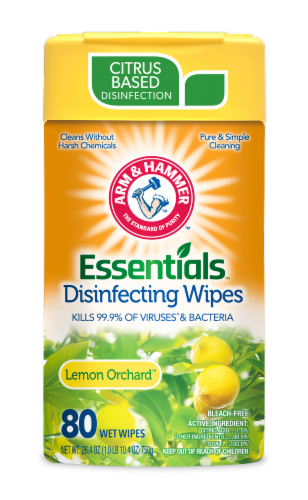 Arm and Hammer Essentials Lemon Orchard Disinfecting Wet Wipes Perspective: front