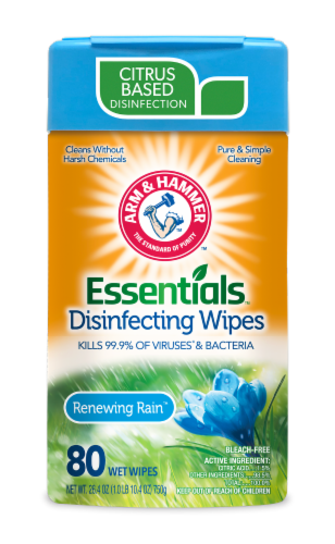 Arm and Hammer Essentials Renewing Rain Disinfecting Wet Wipes Perspective: front