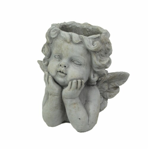 Weathered Gray Concrete Winged Cherub Angel Head Planter 7.75 Inches High Perspective: front