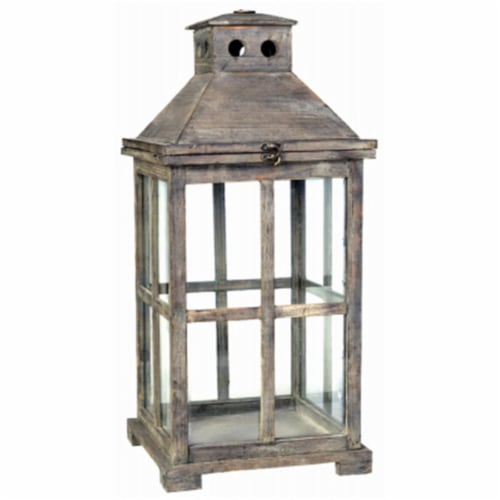 A & B Home 247605 Large Square Graca Temple Garden Candle Lantern, Antiqued Perspective: front