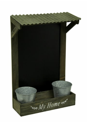 My Home Wooden Chalkboard Wall Hanging w/Shelf & Planters Perspective: front