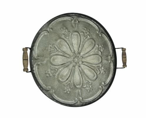 28 Inch Galvanized Metal Decorative Serving Tray Wall Art Rustic Home Decor Perspective: front