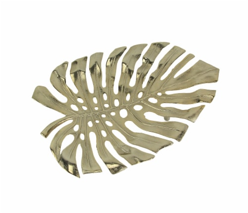 19 Gold Metal Leaf Decorative Bowl Wall Art Home Decor Sculpture Serving Tray Perspective: front