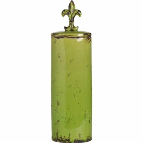 Saltoro Sherpi Tall Round Ceramic Jar with Fleur-de-lis Finial, Green Perspective: front