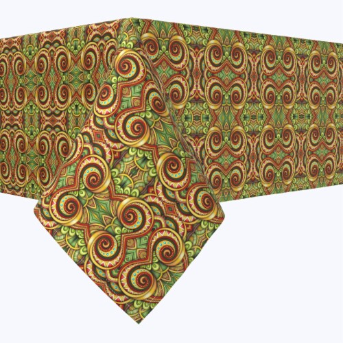 """Square Tablecloth, 100% Polyester, 54x54"""", Abstract Kaleidoscope Paisley Perspective: front"""