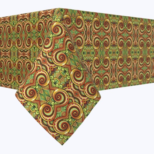 """Rectangular Tablecloth, 100% Polyester, 60x84"""", Abstract Kaleidoscope Paisley Perspective: front"""