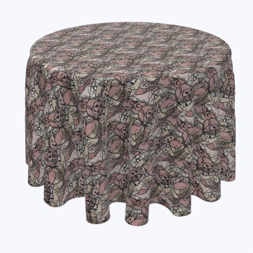 """Round Tablecloth, 100% Polyester, 84"""" Round, Art Deco Lace Perspective: front"""