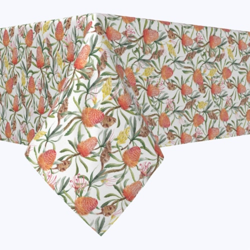 """Rectangular Tablecloth, 100% Polyester, 60x84"""", Australian Tropical Flowers Perspective: front"""