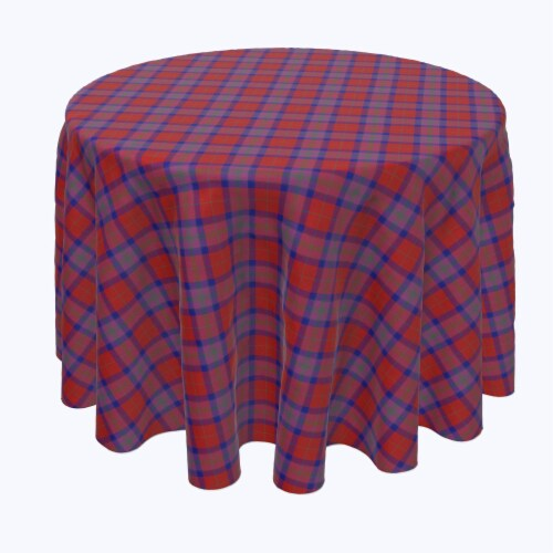 """Round Tablecloth, 100% Polyester, 102"""" Round, Autumn Tartan Plaid Perspective: front"""