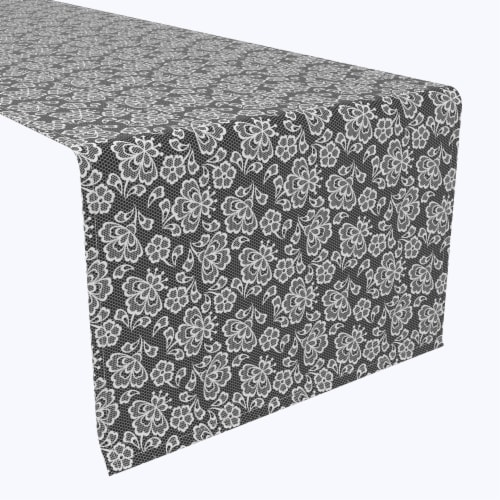 """Table Runner, 100% Polyester, 14x108"""", Black & White Lace Doily Perspective: front"""