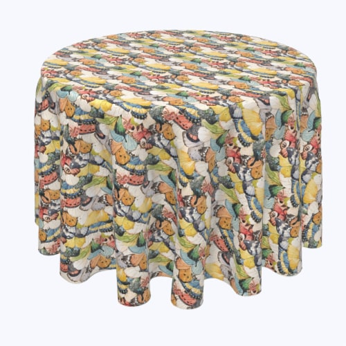 """Round Tablecloth, 100% Polyester, 96"""" Round, Close Up Butterflies Perspective: front"""