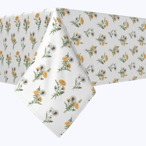 """Square Tablecloth, 100% Polyester, 84x84"""", Dandelions Perspective: front"""