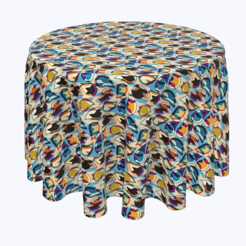 """Round Tablecloth, 100% Polyester, 60"""" Round, Geometric Houndstooth Perspective: front"""