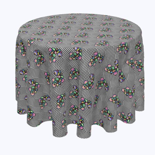 """Round Tablecloth, 100% Polyester, 60"""" Round, Houndstooth & Flowers Perspective: front"""