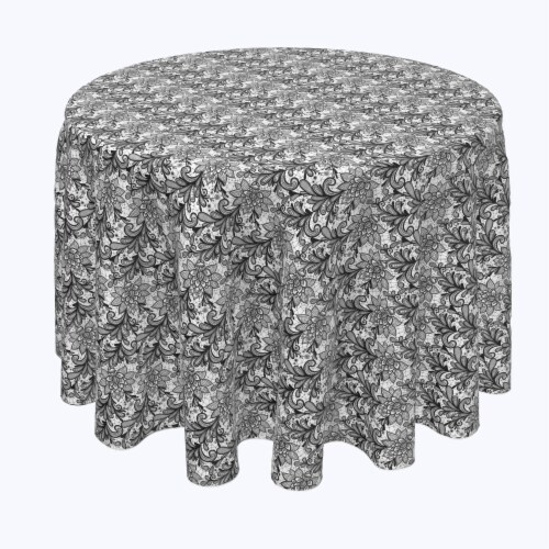 """Round Tablecloth, 100% Polyester, 114"""" Round, Lace Doodles Black & White Perspective: front"""
