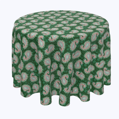 """Round Tablecloth, 100% Polyester, 114"""" Round, Oriental Paisley Perspective: front"""