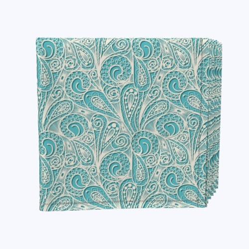 """Napkin Set, 100% Polyester, Set of 12, 18x18"""", Paisley Lace Teal Perspective: front"""