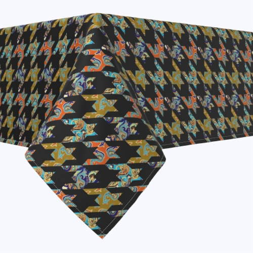 """Rectangular Tablecloth, 100% Polyester, 60x84"""", Paisley Patchwork Perspective: front"""