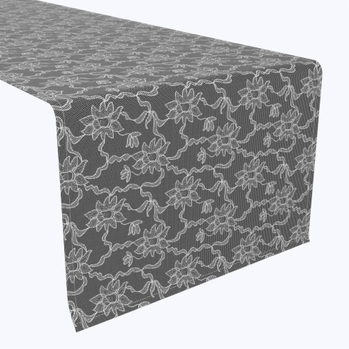"""Table Runner, 100% Polyester, 14x108"""", Paisley Petals Black Lace Perspective: front"""
