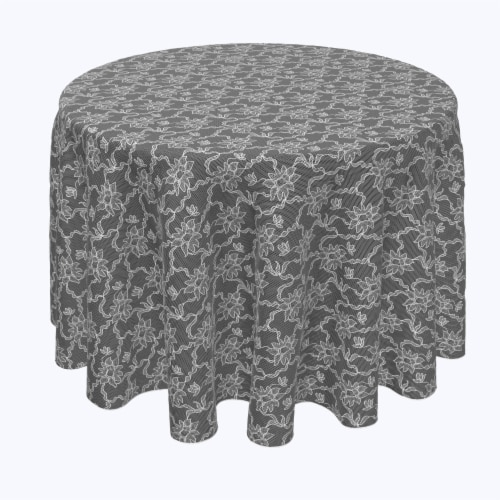 """Round Tablecloth, 100% Polyester, 120"""" Round, Paisley Petals Black Lace Perspective: front"""