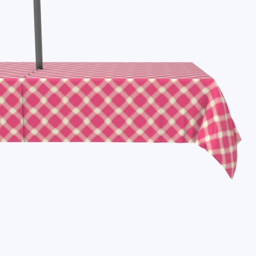 """Water Repellent, Outdoor, 100% Polyester, 60x84"""", Pink & Yellow Checkered Plaid Perspective: front"""