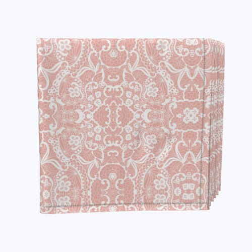 """Napkin Set, 100% Polyester, Set of 12, 18x18"""", Pink Lace Damask Perspective: front"""
