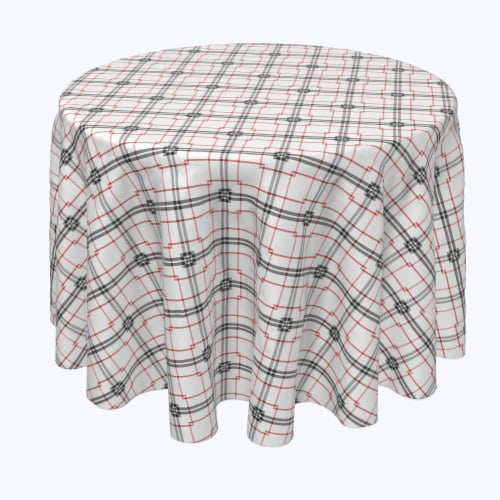 """Round Tablecloth, 100% Polyester, 120"""" Round, Red & Black Fashion Plaid Perspective: front"""
