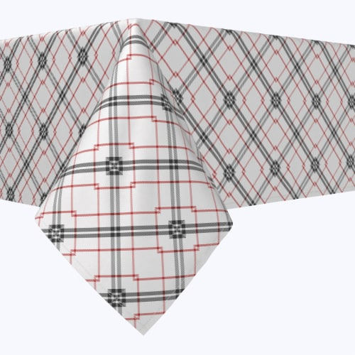 """Rectangular Tablecloth, 100% Polyester, 60x104"""", Red & Black Fashion Plaid Perspective: front"""