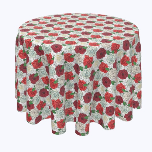 """Round Tablecloth, 100% Polyester, 84"""" Round, Red & White Rose Sketches Perspective: front"""