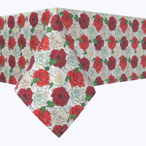 """Square Tablecloth, 100% Polyester, 90x90"""", Red & White Rose Sketches Perspective: front"""