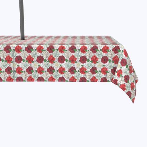 """Water Repellent, Outdoor, 100% Polyester, 60x84"""", Red & White Rose Sketches Perspective: front"""