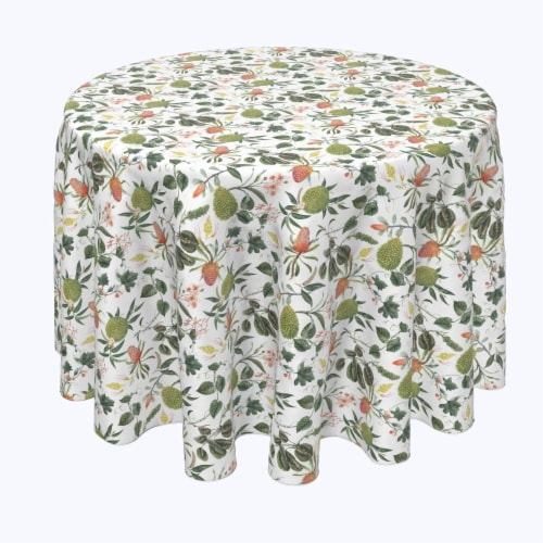 """Round Tablecloth, 100% Polyester, 60"""" Round, Tropical Flowers & Leaves Perspective: front"""