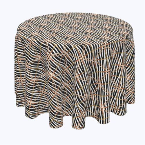 """Round Tablecloth, 100% Polyester, 114"""" Round, Zebra Chains & Ropes Perspective: front"""