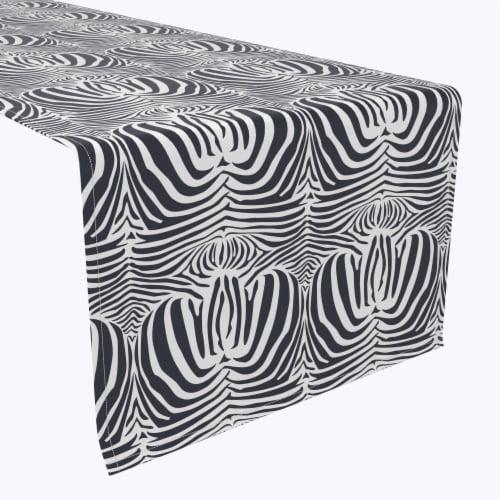 "Table Runner, 100% Polyester, 12x72"", Zebra Skin Perspective: front"