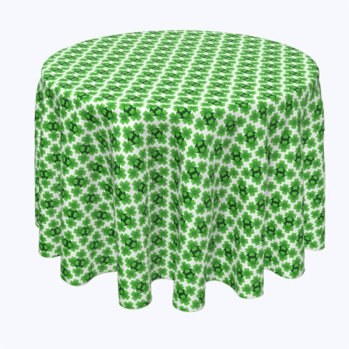 """Round Tablecloth, 100% Polyester, 114"""" Round, Celtic Shield of Clovers Perspective: front"""