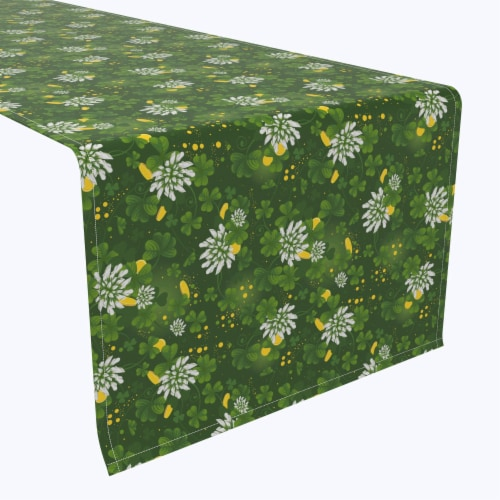 """Table Runner, 100% Polyester, 14x108"""", Clover Blossom Perspective: front"""