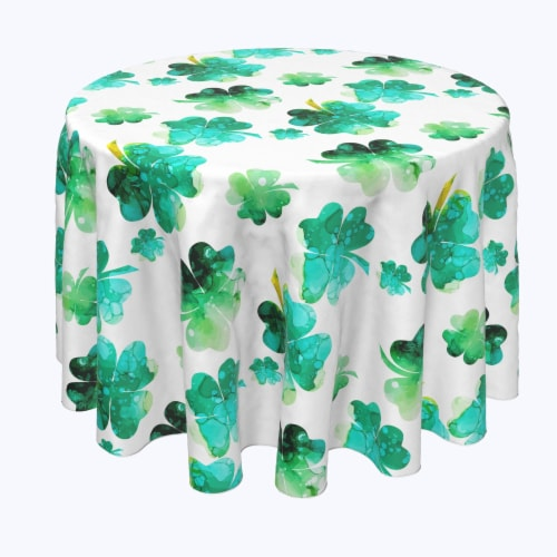 """Round Tablecloth, 100% Polyester, 84"""" Round, Rain Drop Clovers Perspective: front"""